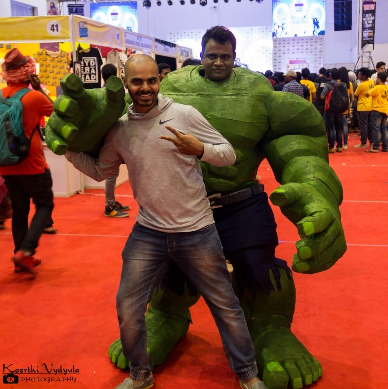 Cosplayer suited up as Hulk