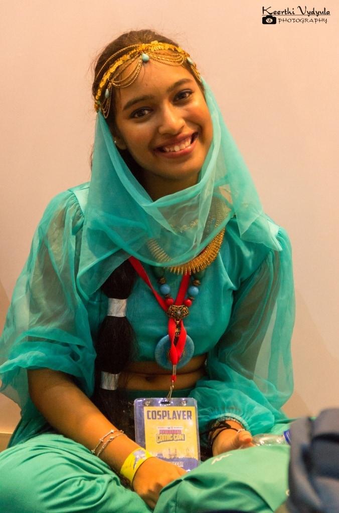 Woman dressed up as Jasmine