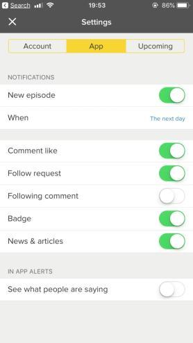 Screenshot for app settings