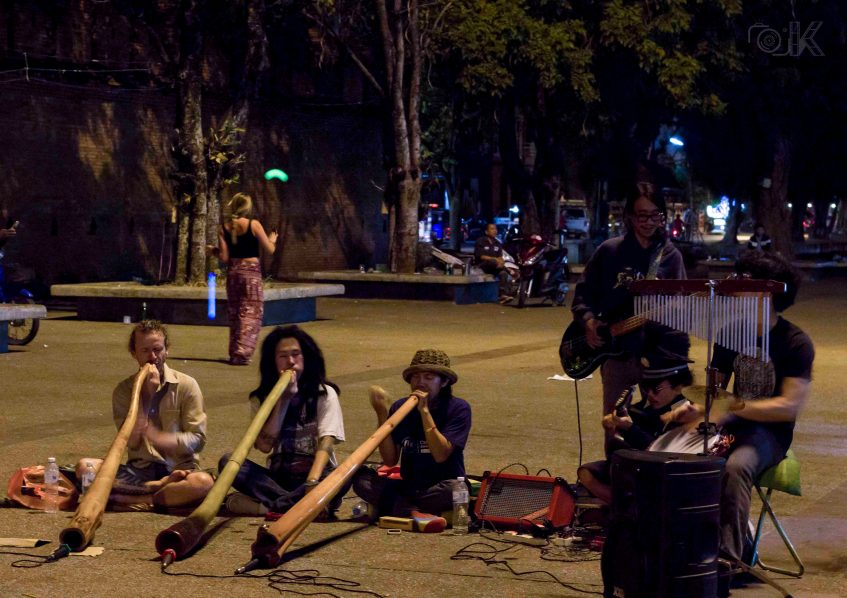 Tuku Band performing with Didgeridoo in front of Tha Phae Gate.