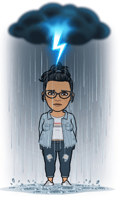 Cartoon representation of keerthi standing in rain feeling angry