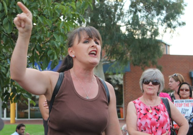 Frustrated mother Julie Parsons vents her towards the Melton Council. Picture: Aleczander Gamboa