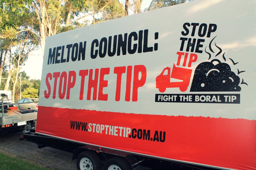 Stop The Tip billboards that are driven around the Western area. Picture: Aleczander Gamboa