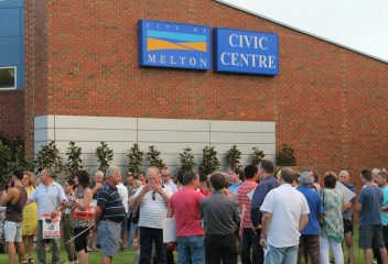 Locals gathering for the rally at the Melton Civic Centre. Picture: Aleczander Gamboa
