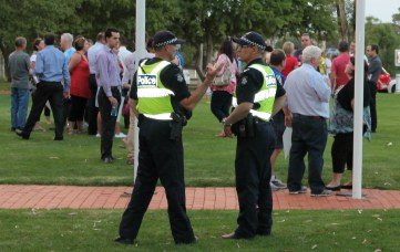Police observing the peaceful rally. Picture: Aleczander Gamboa