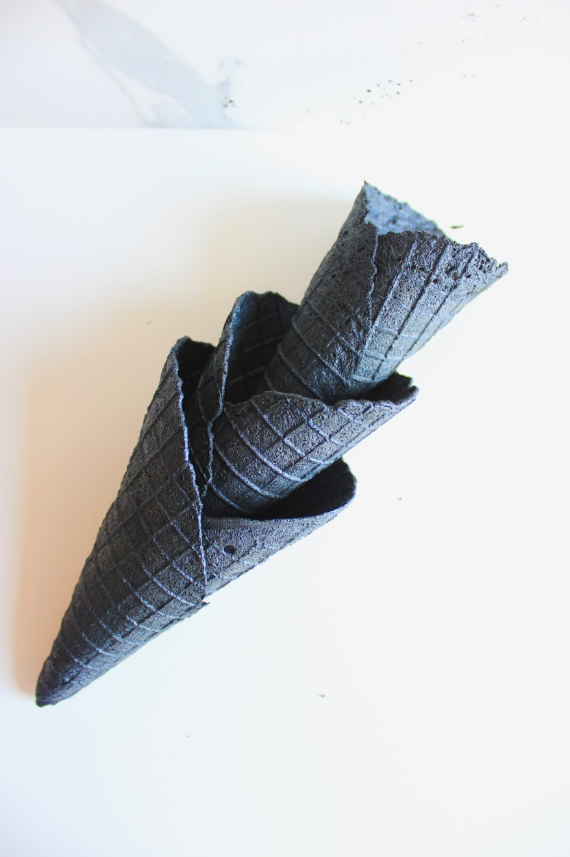 activated charcoal waffle cone