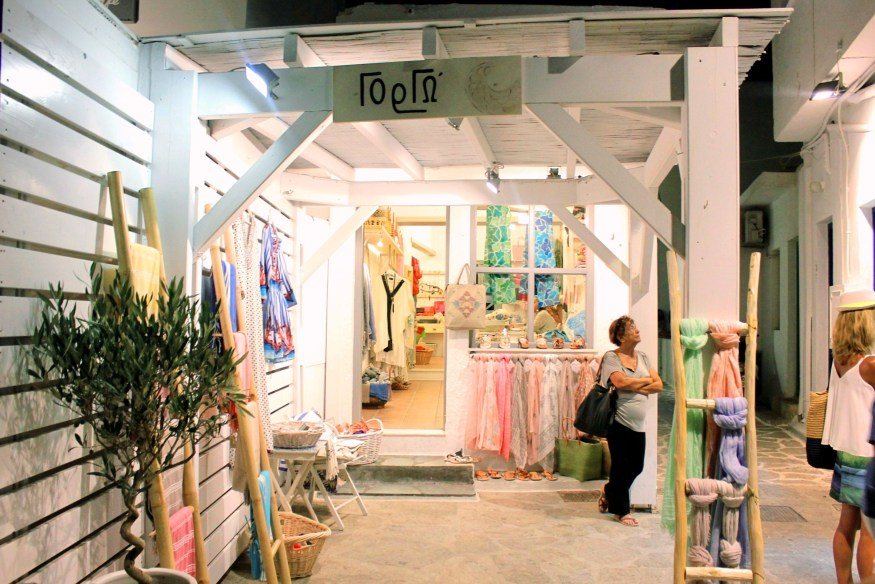 shopping in streets of naoussa paros