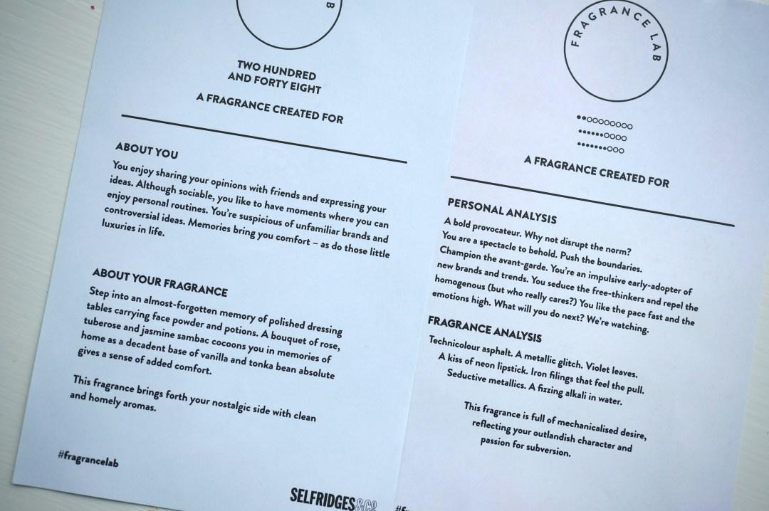 selfridges fragrance lab analysis
