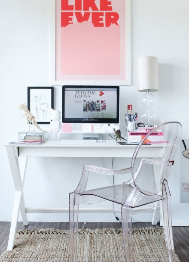 pretty-luxurious-white-pink-home-office-space-desk-ghost-plaxi-glass-chair