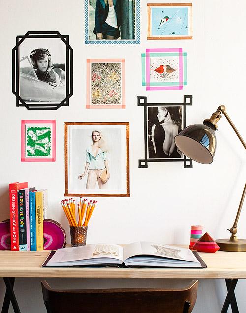 washi frames wall