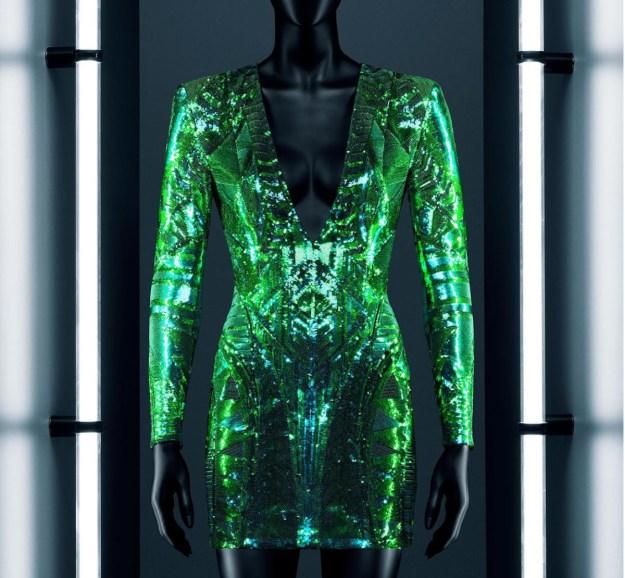 hm-balmain-green-mini-dress