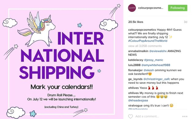 colourpop-international-shipping
