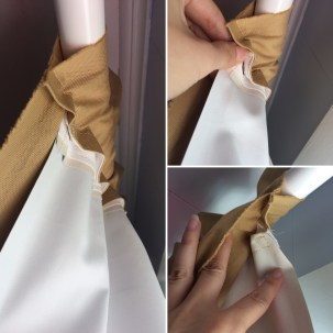 The snap on liner for the blackout curtain, the curtain material is machine washable but the liner is not so I found a way to be able to take the liner off when it's time for washing. I used snap tape for this project.