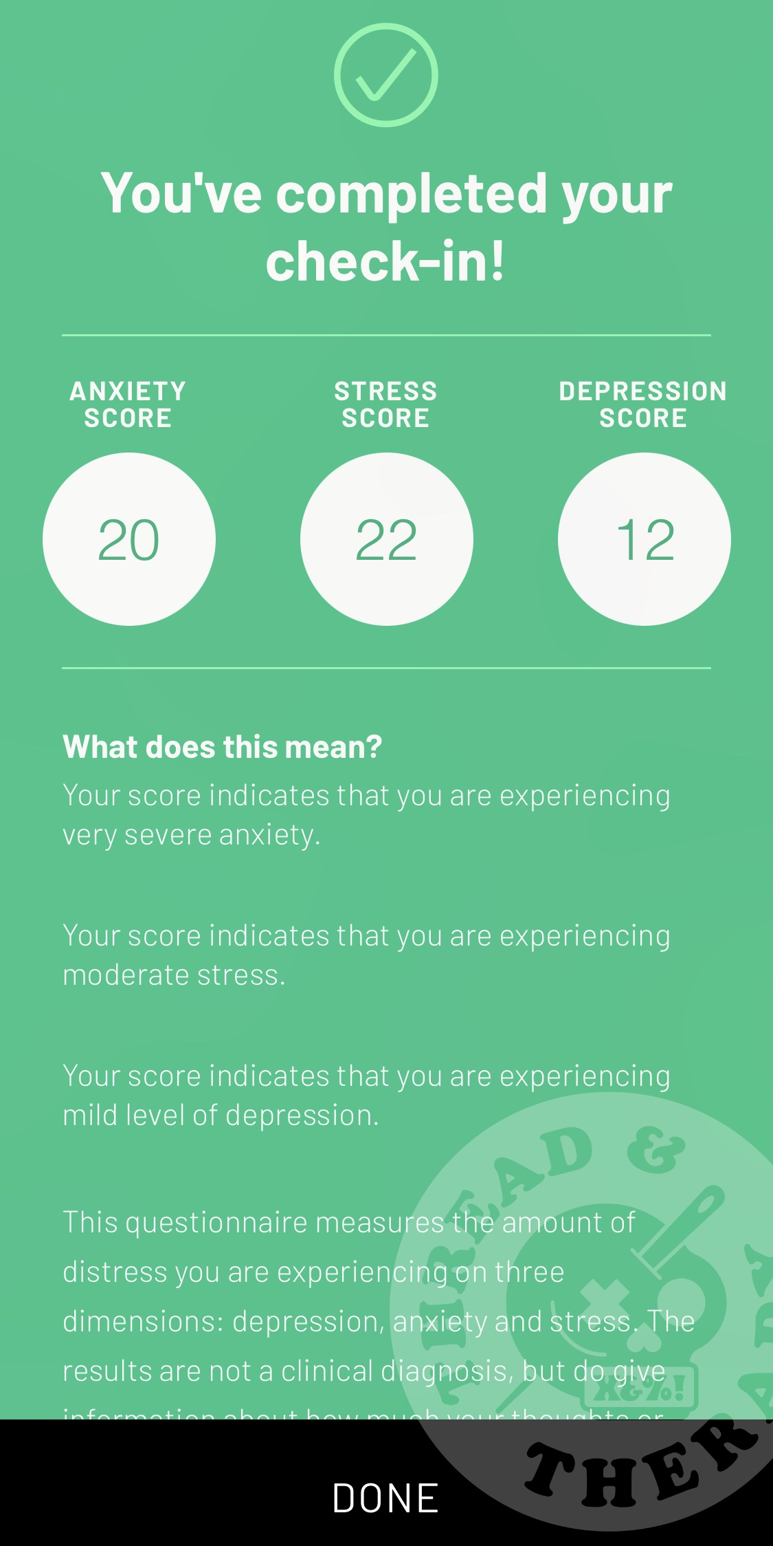 A screenshot of Sanvello's mental health check-in feature. Anxiety and stress scored in the 20s.