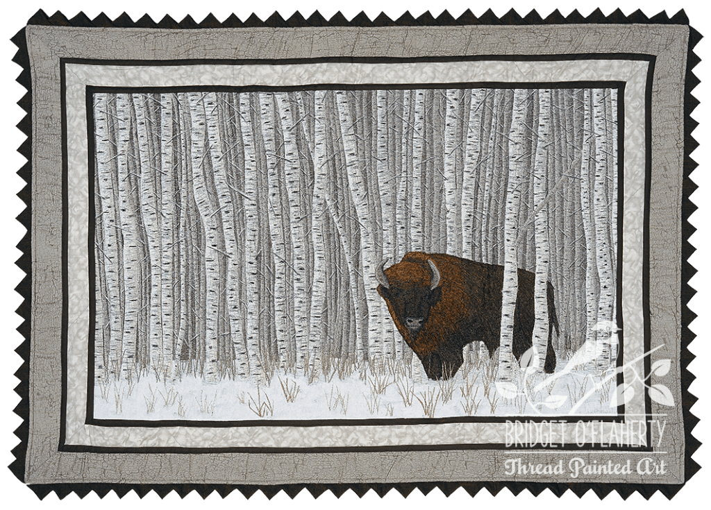 Quilts of Canada Manitoba: Wood Bison thread painted art by Bridget O'Flaherty