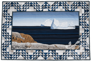 New Foundland: Storm at Sea Ice thread painting by Bridget O'Flaherty