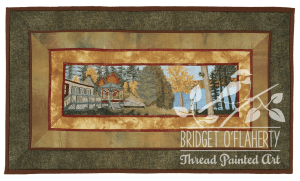 Summer Cottage thread painting by Bridget O'Flaherty