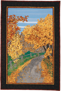 Quebec: The Road Less Travelled Thread Painted Art by Bridget O'Flaherty
