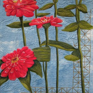 Bursting ZInnias Original Dsign by Bridget O'Flaherty