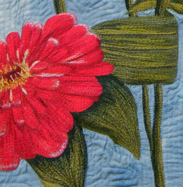 Thread Painting by Bridget O'Flaherty Bursting Zinnias detail