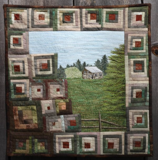 Log Cabin Thread Painted Art by Bridget O'Flaherty