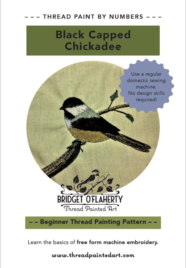 chickadee bird pattern thread painting by Bridget O'Flaherty
