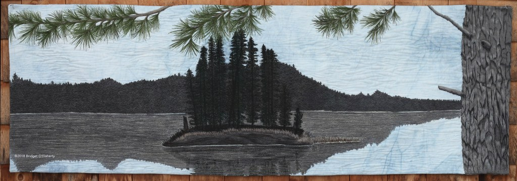 Precious Moments: award winning thread painted art quilt by fibre artist Bridget O'Flaherty