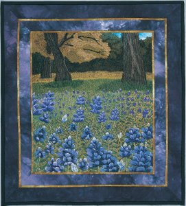 Thread Painting by Bridget O'Flaherty of Bluebonnets in a ieild with a tree