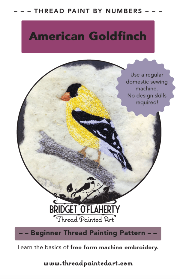 thread painting pattern goldfinch