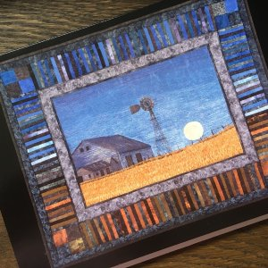 Artcard moonlit prairie. Original art work on a blank notecard