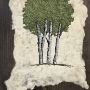 Free motion embroidery on felted art poplar Trees