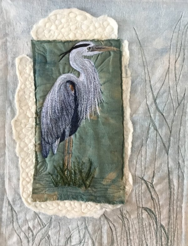 Thread painted custom art on felted batting and natural dyed cotton