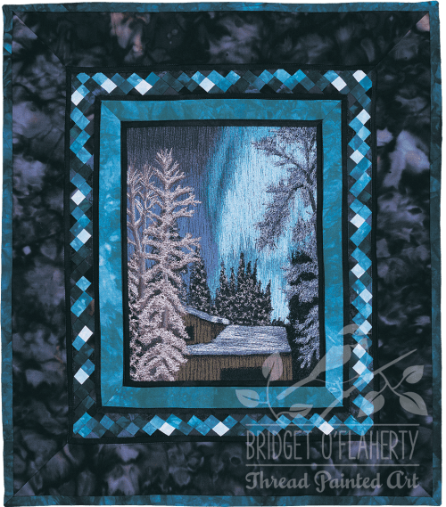 Northern Lights 2 thread painting by Bridget O'Flaherty