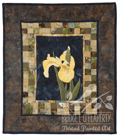 Yellow Iris thread painting by Bridget O`Flaherty