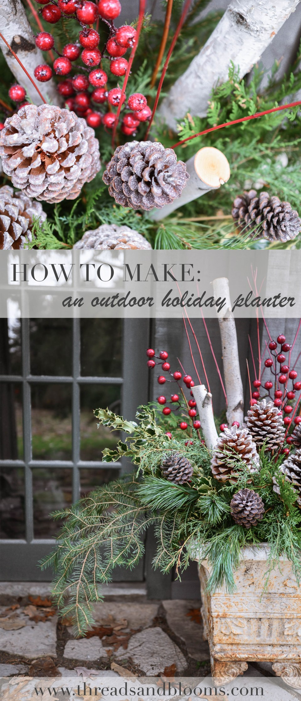 How to make an Outdoor Holiday Planter