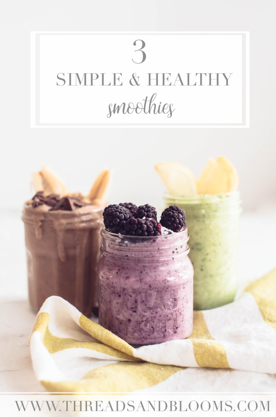 3 Smoothie Recipes - Peanut Butter Smoothie, Berry Coconut Smoothie, and Citrus Ginger Green Smoothie. Simple and healthy smoothies.