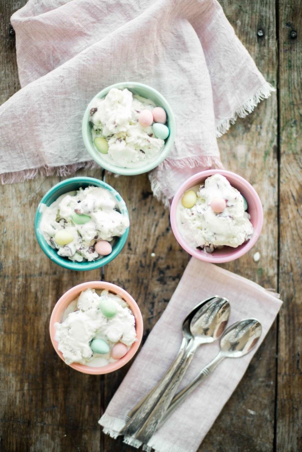 Homemade Ice Cream with Cadbury Mini eggs for Easter!