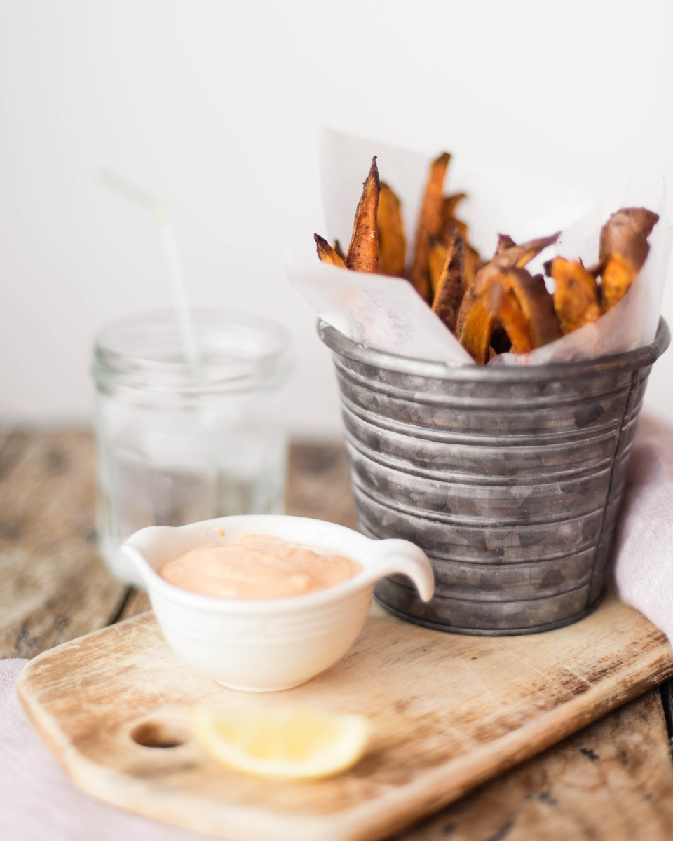 Baked Sweet Potato Fries with Spicy Mayo Dip - Delicious Side Dish
