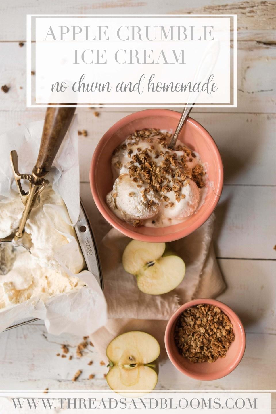 Apple Pie Ice Cream with Oat Crumble - No Churn Ice Cream Recipe