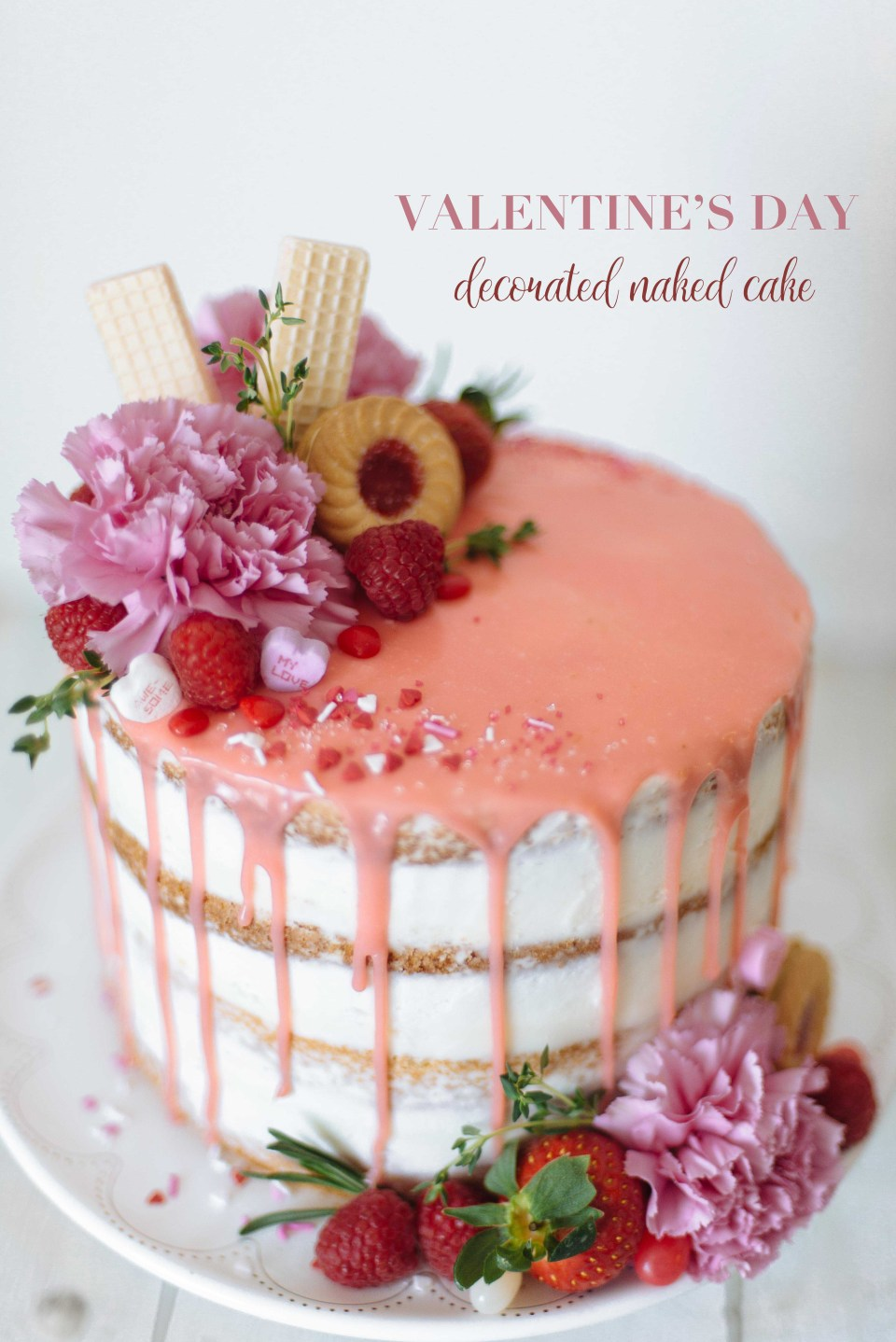 Beautiful Naked Cake for Valentine's Day | Naked Wedding Cake | DIY Naked Cake | Valentine's Day Treats