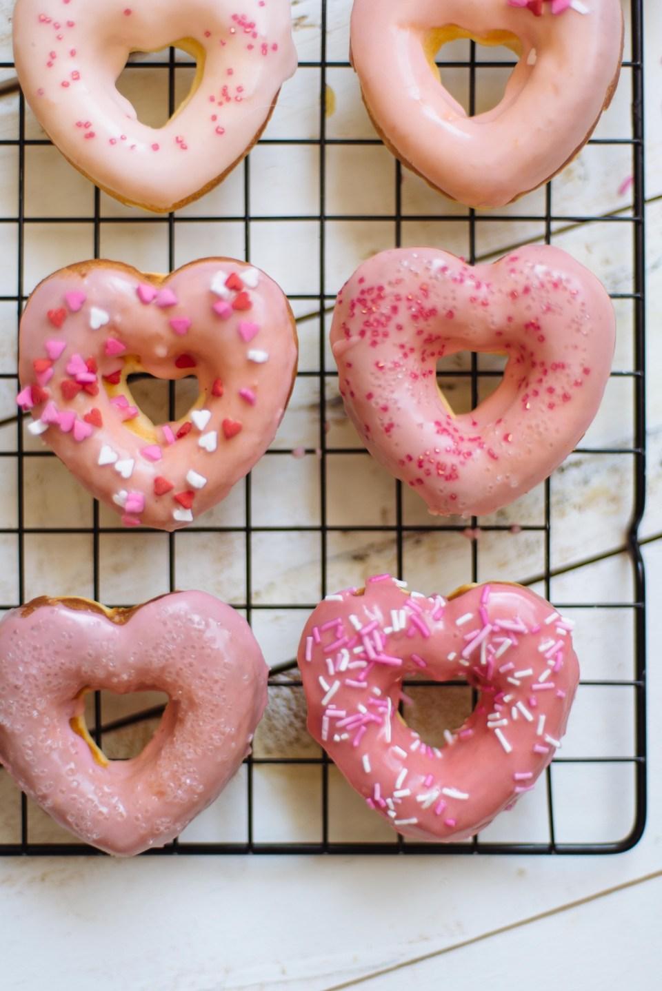 Baked Donut Recipe | Valentine's Day Donuts | Valentine's Day Desserts | Heart Shaped Donuts