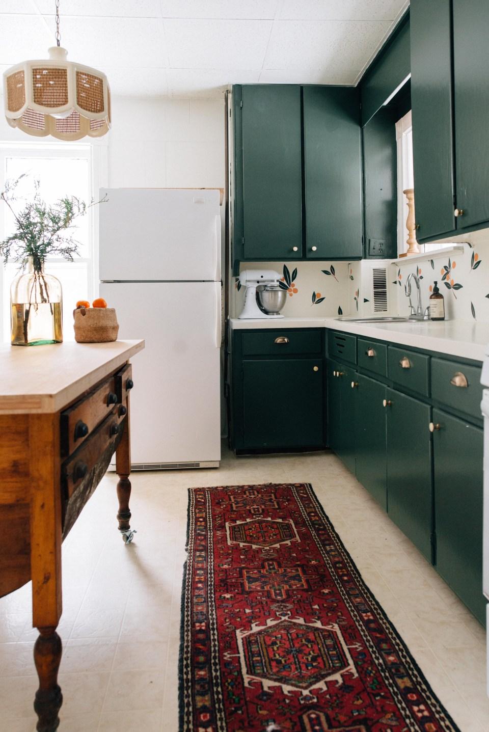 Dark Green Kitchen Cupboards - Vintage Inspired Kitchen - Green Kitchen