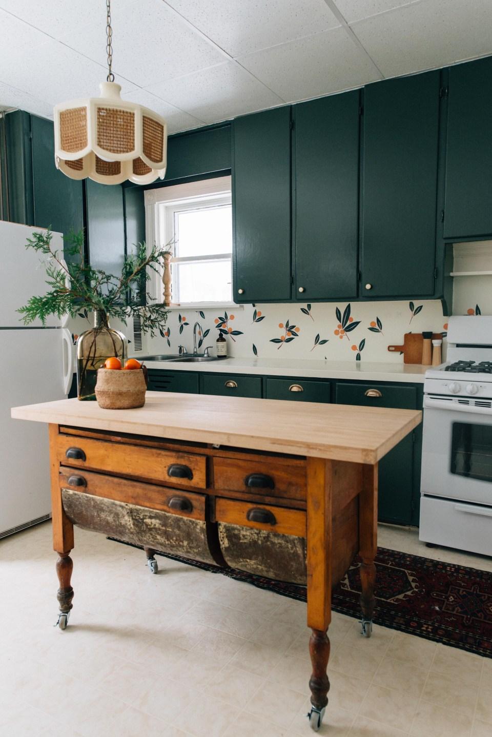 Dark Green Kitchen Cupboard - Vintage Inspired Kitchen