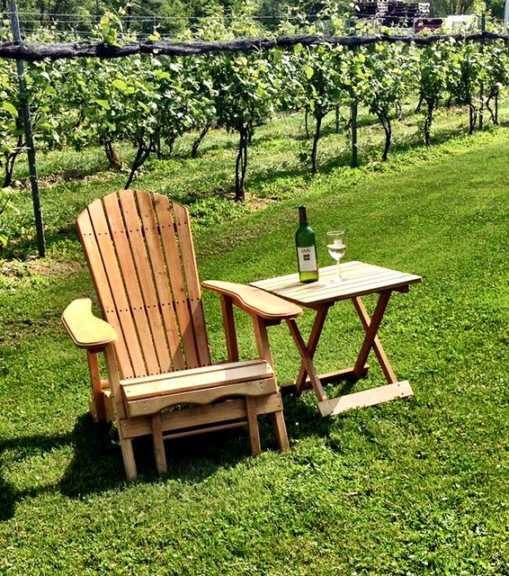 chair and wine in vineyard