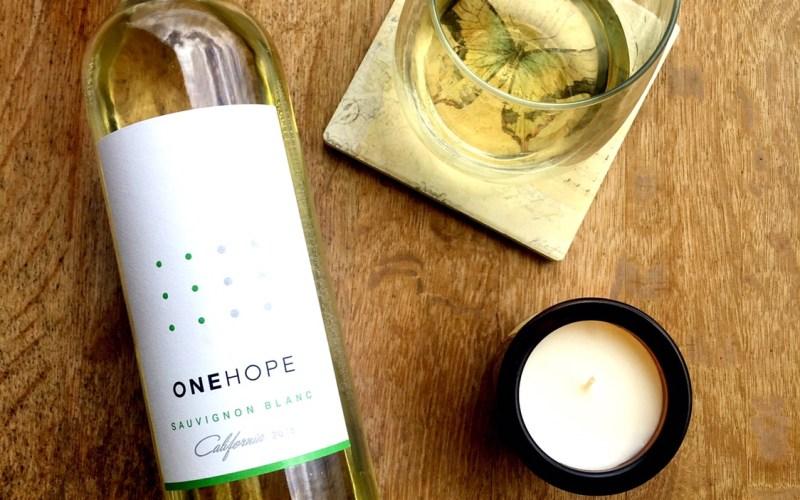Flat Lay of Sauvignon Blanc One Hope Wine Bottle