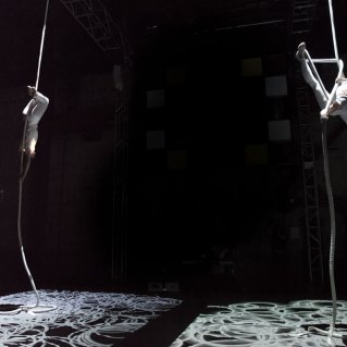 Danielle Butler and Lisa Jamhoury perform Threads Act 2 at Streb Lab for Action Mechanics.