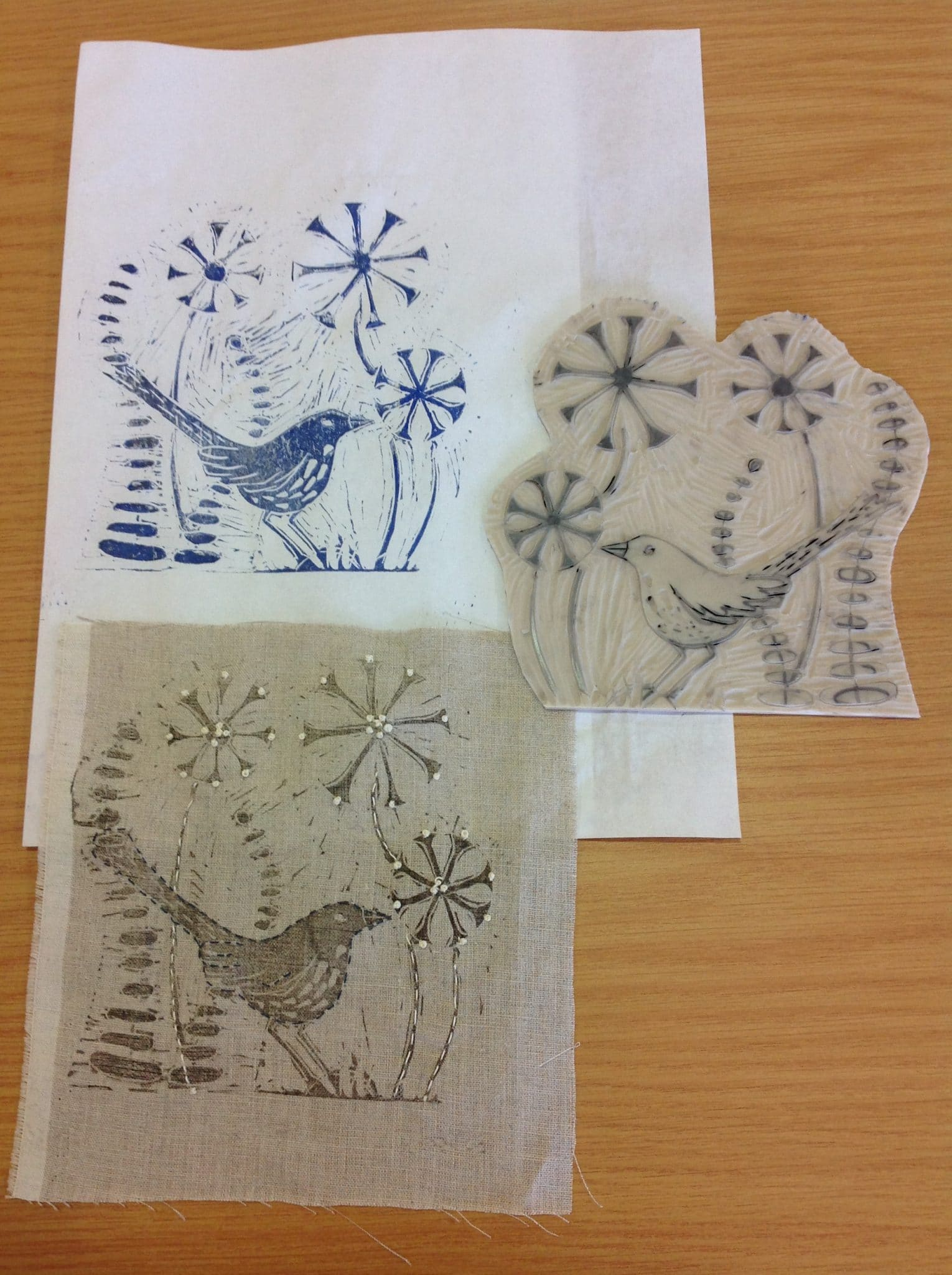 Lino Print and Stitch