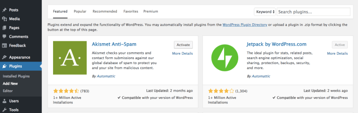 search and install wordpress plugins