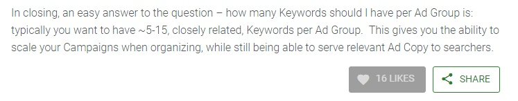 Vkore post talking about Keywords