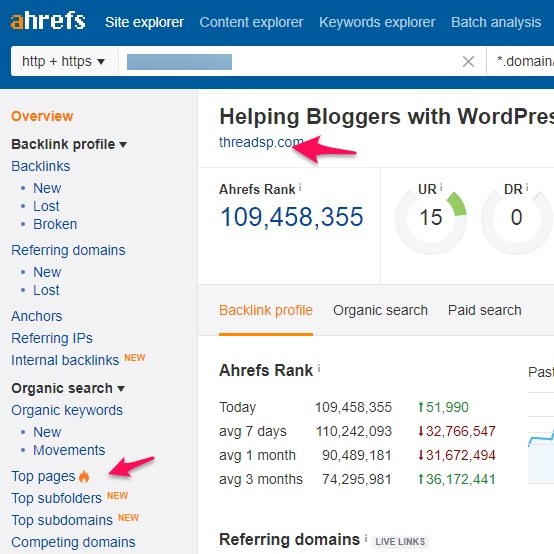 Pro blogging tips - Ahrefs top pages